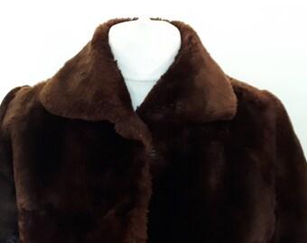 Vintage full length fur coat 1950s chocolate brown coat by Martins of London size medium