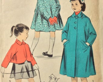 Advance 8223 girls coat or jacket size 3 vintage 1950's sewing pattern  Uncut  Factory folds