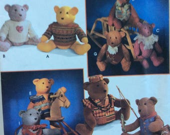 """Simplicity 9053 vintage 20"""" stuffed bear with clothing sewing pattern  Elaine Heigl Design  Uncut  Factory folds"""