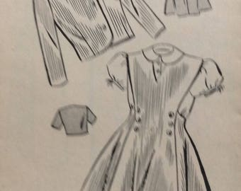 Mail order 2599 girls blouse, jumper and jacket size 4 vintage 1940's sewing pattern