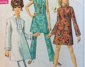 Simplicity 7994 misses dress or tunic and pants size 12 bust 34 vintage 1960's sewing pattern