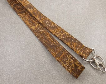 Lanyard Fabric Lanyard Paisley Lanyard Teacher Lanyard Brown Lanyard Key Holder ID Badge Holder Nurse Lanyard Work Lanyard