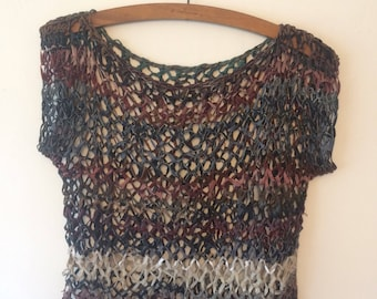 Vintage Hand Knitted Leather Top