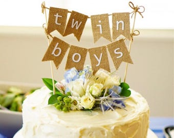 Twin boys burlap cake topper