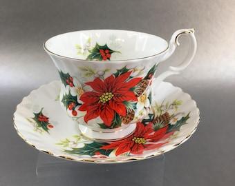 Royal Albert Christmas Yuletide Poinsettia Bone China Tea Cup England