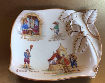 Vintage Royal Winton Old English Market 1952 Candy Tray Trinket Dish Ceramic
