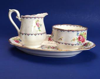 Royal Albert Petit Point English Bone Cream Pitcher and Sugar Bowl on Serving Tray Mint