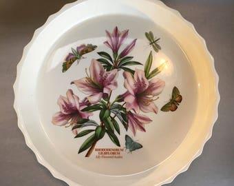 "Portmeirion Susan Williams Ellis The Botanic Garden Rhododendrum 11"" Quiche Plate Porcelain England"