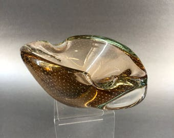 "Golden Brown Air Infused Freeform Murano 7.5"" Shell Blown Glass Trinket Dish Bowl Italy"