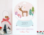 Pink/Blue Personalised Baby's First Christmas Card, Snowglobe, Reindeer, Kitsch, Newborn, Girl, Boy