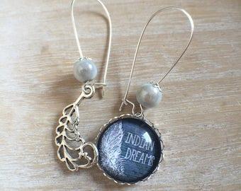 earring cabochon 20mm asymmetrical half black half Angel