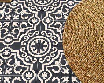 SALE!! Tile Decals - Tiles for Kitchen/Bathroom Back splash - Carreaux Ciment Encaustic Lys Vinyl Floor Sticker 16 pcs Pack in Black
