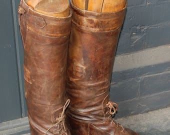 1920s-'30s Art Deco era All Leather Tall Boots, Field Boots, Riding Boots -- Free Shipping!