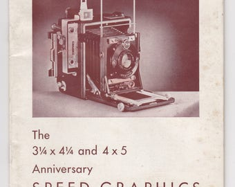 1940s era Manual for Folmer Graflex Anniversary Speed Graphic Camera — Free Shipping!