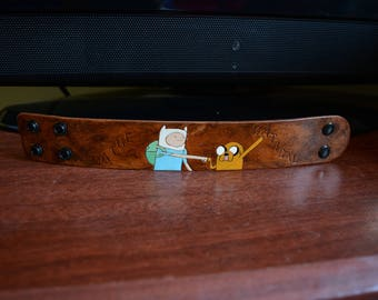 One of a Kind Adventure Time Jake and Finn custom leather bracelet