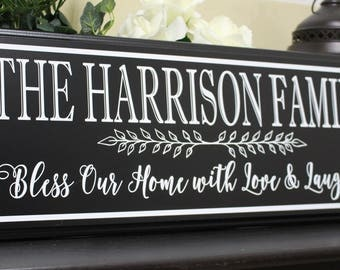 Bless our home sign-personalized gifts-family name sign-family plaque-love laughter sign-last name sign-wood-family wall hanging