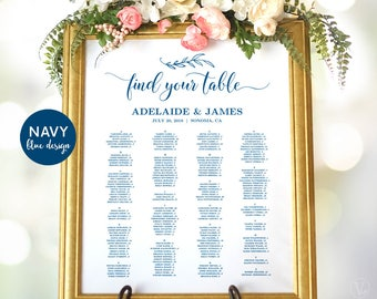 Wedding Seating Chart Template, Navy Blue Wedding Seating Chart Poster, Wedding Seating Chart Signs, Editable, VW00