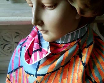 Stunning Unique Vintage French Abstract Silk Scarf-Vivid Coloured Palette & Design,100% Silk Made in France Foulard,Modele Depose Copyright