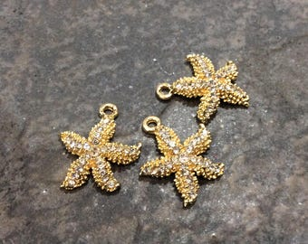 Gold Starfish charms with Rhinestone detail Package of 3 charms Beautiful Quality Perfect for Adjustable bangles