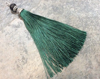 """Extra Long Silky Green fabric tassels with decorative silver cap and glass bead 6"""" tassel charms"""
