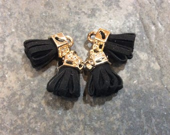 Black micro suede tassels with gold caps Petite tassels for jewelry making and crafts