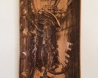Xenomorph Art, Original Gift For Geek, Alien Movie Poster, Xenomorph Nostromo, Movie Room Decor, Alien Corridor Spaceship, Giger Art