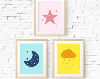 Nursery printable, Colorful nursery, Playroom printable poster, Digital art download, Nursery print, Nursery stars decor, Moon print