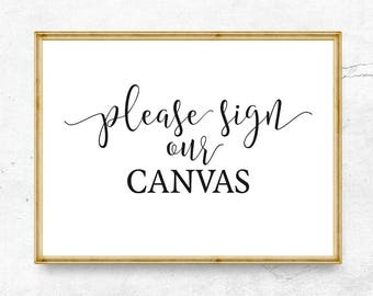 Please sign our Canvas, Wedding sign printable, Wedding welcome sign, Wedding sign, Wedding decor, Reception sign, Wedding signage