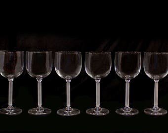 Set of 6 Crystal Wine Glasses, Stemware, red wine glasses