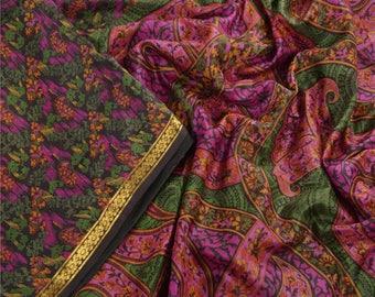 KK Printed Saree Pure Silk Craft Black Fabric Zari Border Sari