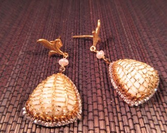 Stunning Retro CZ Pearl Netted Earrings