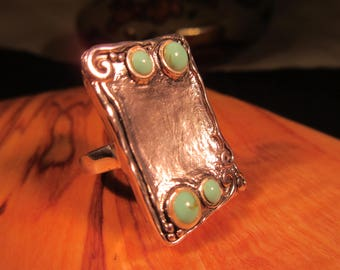 Tribal Sterling Silver Turquoise Ring - 6.5