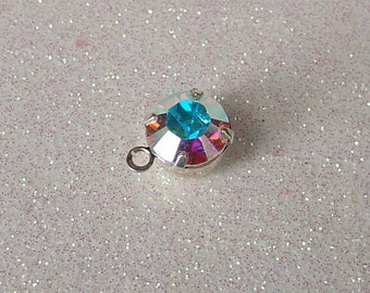 SILVER SWAROVSKI CRYSTAL AB 8MM WITH RING PENDANT