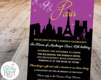 A Night in Paris Party Printable Invitation, 5x7in - Purple and Black - Double-Sided - Instant Download - Girls Birthday Parties