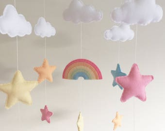 Clouds Stars Cot Mobile, Baby Mobile, Felt Cloud Nursery Mobile, Stars Nursery, Nursery Decor, Musical Cot Mobile, Pastel Nursery, Pastel