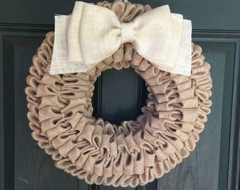 Tan/White Burlap Bubble Wreath