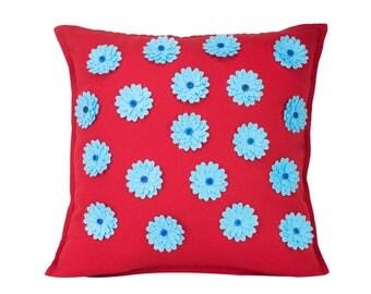 Red Floral Throw Pillow, Stylish Throw Cushion, Decorative Home or Office Cushion/Pillows, 50x50cm Large Cushion