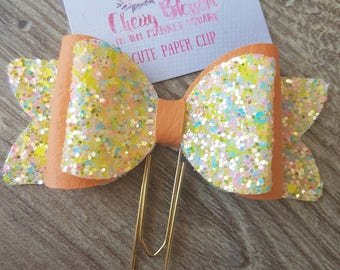 Yellow Glitter and Peach 3D Bow