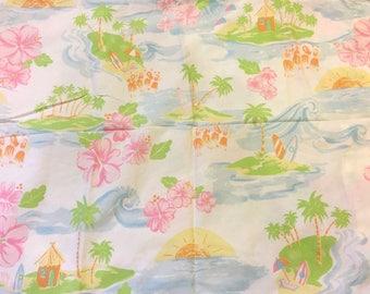 Pottery Barn Kids PB Kids Fabric Tropical Queen Flat Sheet Huts Surf Boards Palm Trees Ocean Blue Pink Green