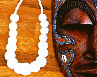 "Necklace ""Ox Bone White"" bone cattle • white • sale • Haiti solidarity Art designer Creation"