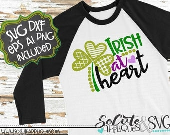 Irish at heart SVG, St Patricks day SVG, socuteappliques, St Patricks SVG, clover svg, green svg, lucky svg, shamrcok svg, irish svg