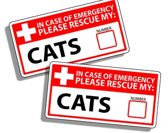 Cat Emergency Pet Rescue Sticker Vinyl Decal 1st First Aid Responder FIRE Safety Safe