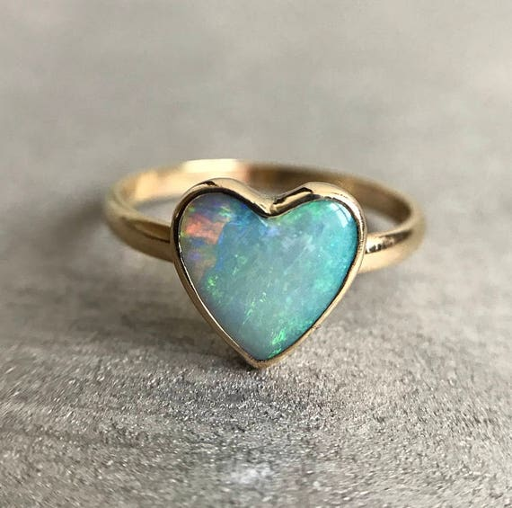 14K yellow gold ring with Australian Opal heart SZ 7