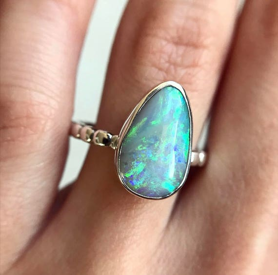 Sterling silver ring with Australian black teardrop opal SZ 8