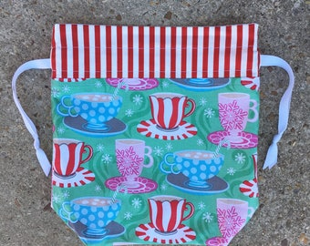 Cups of Hot Chocolate Drawstring Bag, Tote Bag, Project Bag