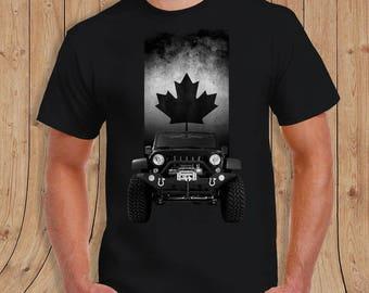 Canadian flag jeep Shirt - t-Shirt Mens Ladies Womens Youth Kids
