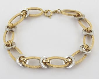 """14k Yellow And White Gold Rolo Link Charm Bracelet 8"""" 4.70 grams"""