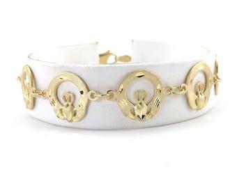 14k Yellow Gold Irish Claddagh Bracelet 7 1/4 Inches 8.3 grams