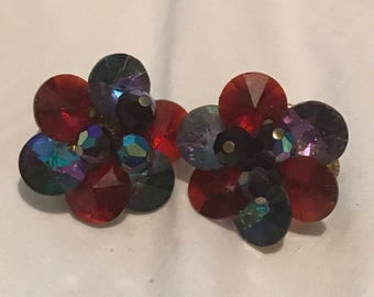 Vintage Vendome Red Blue Iridescent Crystal Earrings