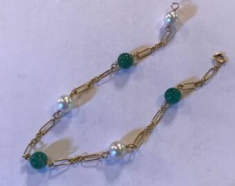 Vtg 14k gold Jade & Pearl Bracelet